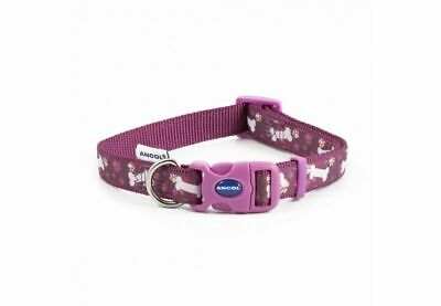 Ancol Fashion Purple Bone Adjustable Nylon Dog Puppy Collar Lead