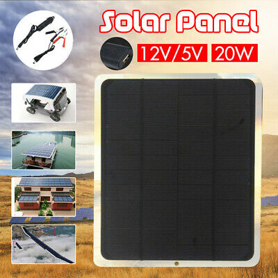 20W Output 12V / 5V Solar Panel Car Charger Outdoor Charger Power USB 2.0 Port B
