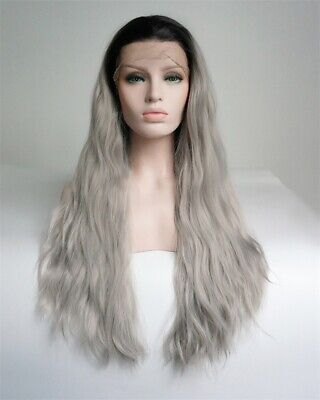 24 Inches Long Natural Curly Black Gray Ombre Lace Front Wig