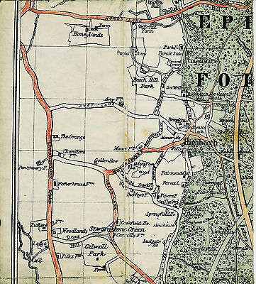High Beach Epping Forest 1914 orig. part map/cloth Robin Hood Honeylands Manor F