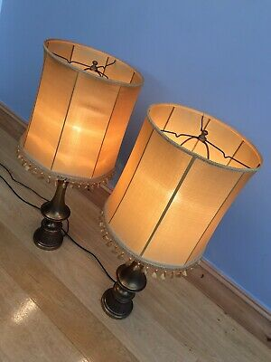 Antique Table Lamps Light Shades X 2 1950s Original Tall Old Vintage Retro