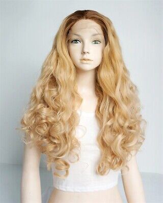 Fashion 24 Inches Blonde Long Curly Women Girls Lace Front Wig Synthetic Perücke