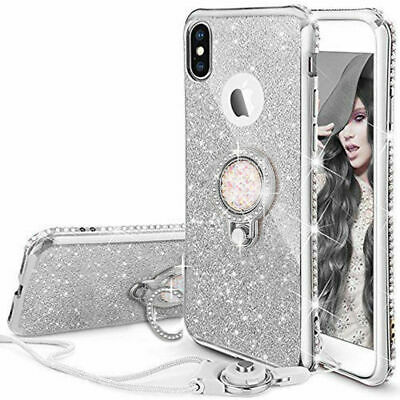 For iPhone 7 Plus Case XR 8 6s 5 XS Max Glitter Diamond Ring Stand Phone Cover