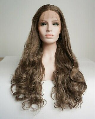 Lace Front Wig Women Fahsion Daily Party Braun 24 Inches Curly Synthetic Perücke