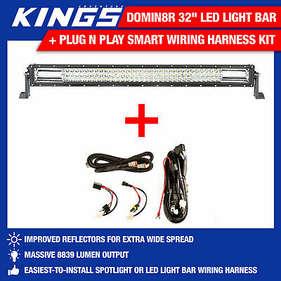 "Adventure Kings Domin8r 32"" LED Light Bar + Plug N Play Smart Wiring Harness Kit"