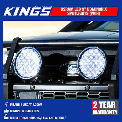 "Kings OSRAM Domin8r X 9"" LED Driving Lights Spot Pair Offroad Spotlights Work"