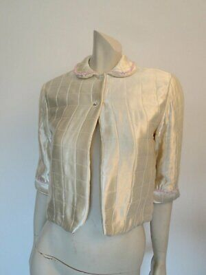 Quilted Ivory Silk Satin Jacket - Bed Jacket - 1940s - Bust 86 cm