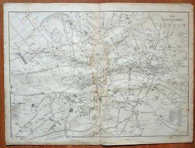 1865 VICTORIAN MAP THE LANDMARKS OF LONDON railway stations museums schools etc
