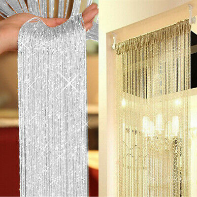 UK Glitter String Curtain Panels Fly Screen & Room Divider Voile Net Curtains