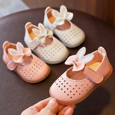 Toddler Infant Kids Baby Girls Hollow Out Crystal Bowknot Princess Shoes Sandals