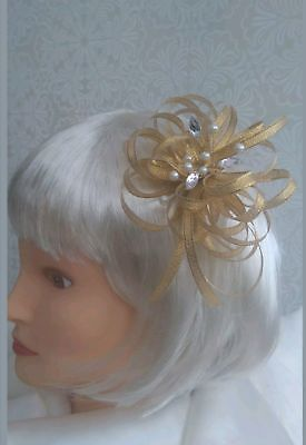 Gold shimmer fascinator with pearls & clear jewels croc clip/head band GORGEOUS!