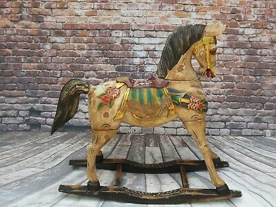 Vintage/Antique French Hand-Carved Solid Wood & Hand-Painted Rocking Horse