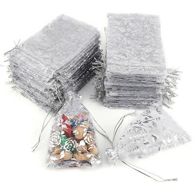 100x Large Organza Favour Pouches - Wedding Voile Bags Drawstring - Silver