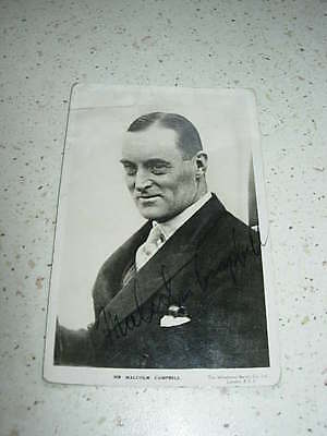 post card of sir malcolm campbell, signed by him