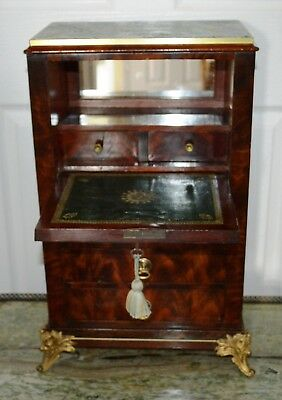 Antique French Empire Secretaire Mahogany Miniature Apprentice Piece