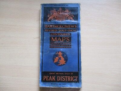 LINEN CLOTH Vintage Bartholomew Map No 29 of the Peak District 1946, ONE OWNER