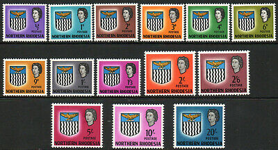 Northern Rhodesia 1963 QEII set of mint stamps value to 20s  Mint Hinged
