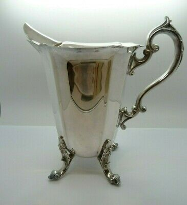 Very Ornate WATER PITCHER WITH ICE LIP Silver Plated on Copper