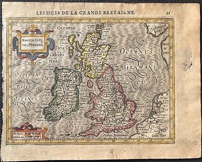 Original Map ANGLIA SCOTIA et HIBERNIA by Mercator c1608 Miniature of Brit Isles