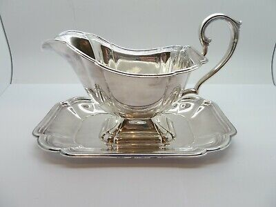 Very Ornate CHADWICK GRAVY BOAT WITH UNDER PLATE Silver Plated by INTERNATIONAL