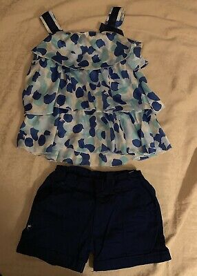 A Girl Summer Blue Outfit Set Top And Short Size 10