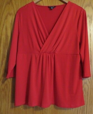 George Women's Large 12-14 red 3/4 sleeve dress shirt slick stretchy feel