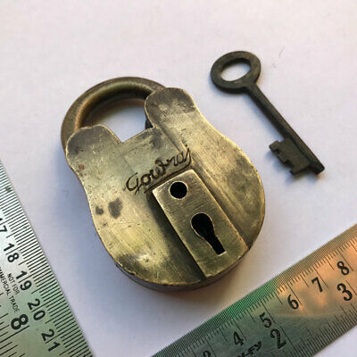 "An old antique solid brass padlock lock with key ""Gouraj"""