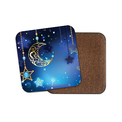 Blue Moon & Stars Coaster - Space Pretty Charms Beautiful Girls Fun Gift #16502