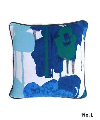 Vintage Heals 60's Howard Carter Pansies fabric cushion cover mid century blue