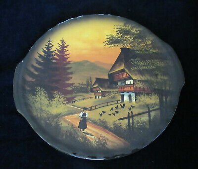 Vintage Black Forest Chalet Sene German Made Tab Handled Cake Plate