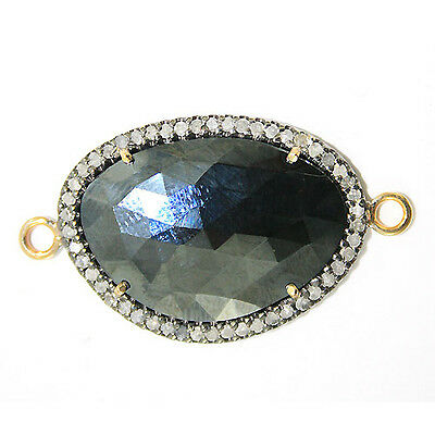 Gemstone Black Spinel Connector 14k Gold Pave Diamond 925 Silver Finding Jewelry