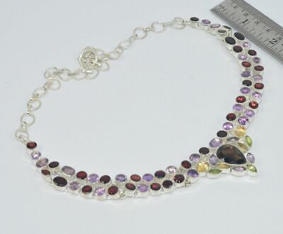 925 Silver Plated Natural Cut Purple Amethyst And Mix Necklace Jewellery ih885