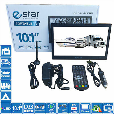 "eStar 10.1"" Inch Portable HD TV 240 & 12V DVB-T2 Freeview Motorhome Caravan Boat"
