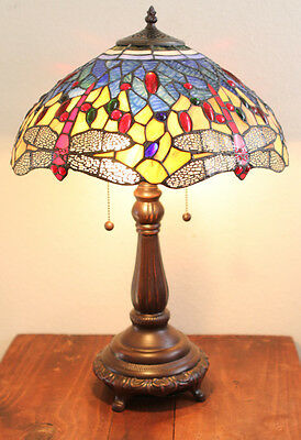 "Stained Glass Tiffany Style Red Dragonfly Table Lamp 2 Lights 16"" Shade"