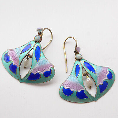 Stunning Antique Chinese Export Earrings in Enamel set with Opals and Pearls