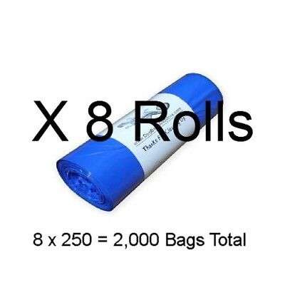 """2000 Dog Poop Bags on 8 Rolls 3/4mil Thick Biodegradable Waste Bag 8"""" X 14"""" #13a"""