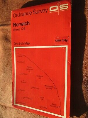 Ordnance Survey One inch map Sheet 1126 Norwich 1969  red cover