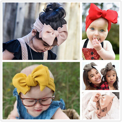 Baby Kids Big Bows Wide Headband Texture Top Knot Hair Band Headwrap Hairband