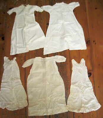 Lot of Antique Victorian Baby doll christening slips dresses with lace