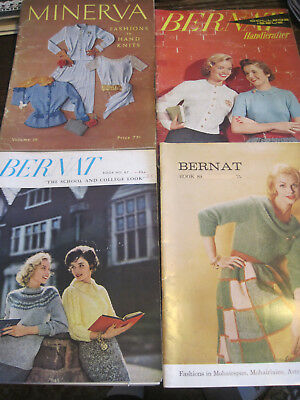 VTG LOT OF FOUR 1950's Bernat/MINERVA Knitting/Crochet Pattern Books