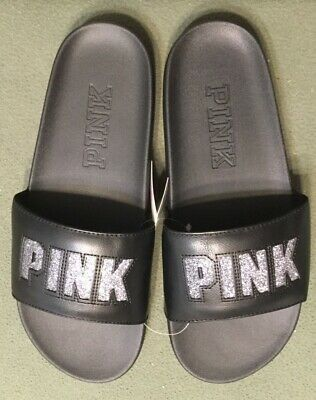 61b13b8c70db Victoria s Secret PINK Single Strap Slides Sandals Black with Bling size M 7 -8