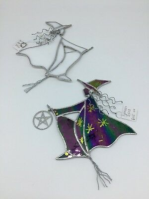 Enchanting Glass Hand Made Art Glass Witches Halloween Window Decorations