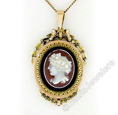 Antique Victorian 14k Rose Green Gold Large Carved Cameo Mourning Locket Pendant