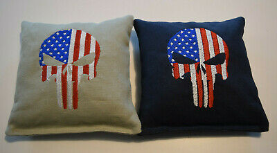 8 Embroidered Cornhole Bags Punisher Stars & Stripes Navy & Gray Corn or Pellets