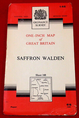 1963 vintage OS Ordnance Survey one-inch Seventh Series map 148 Saffron Walden