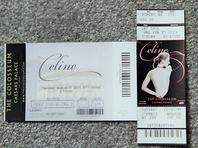 Celine Dion Caesars Colosseum Vegas  2 Different Original Concert Used Tickets