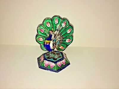 Antique Indian Solid Silver Enameled Miniature Peacock Statue
