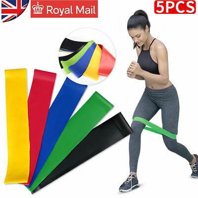 Resistance Exercise Loop Bands Home Gym Fitness Natural Latex set of 5