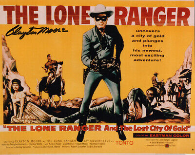 CLAYTON MOORE SIGNED AUTOGRAPHED 8x10 PHOTO THE LONE RANGER MOVIE BECKETT BAS