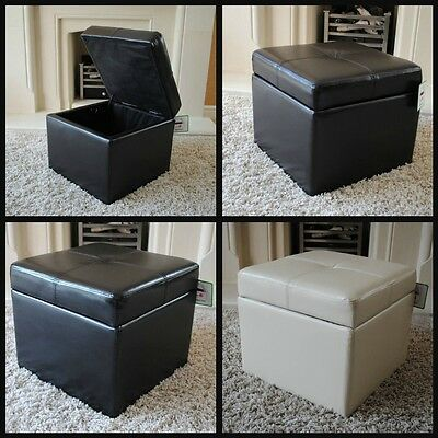 NEW Real Leather Brown / Black / Cream Ottoman Box Storage Footstool Pouffe Cube